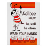 Wellbee CDC WASH YOUR HANDS Advertisement Poster