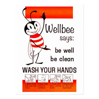 Wellbee CDC WASH YOUR HANDS Advertisement Poster Postcard