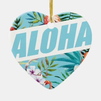 Wellcoda Aloha Summer Flamingo Holiday Ceramic Heart Ornament