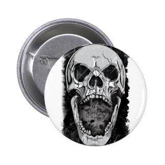 Wellcoda Angry Skull Reaper Skeleton Bone 2 Inch Round Button