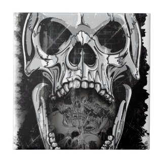 Wellcoda Angry Skull Reaper Skeleton Bone Tile