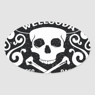 Wellcoda Apparel Pirates Bar Skull Bones Oval Sticker