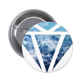 Wellcoda Blue Diamond Sky Cloud Jewel Love 2 Inch Round Button