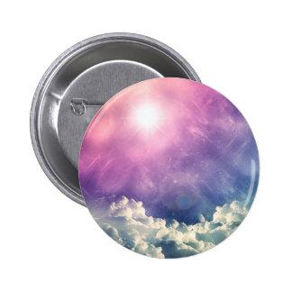 Wellcoda Cloud Sky Hexagon Love Shape Fun 2 Inch Round Button