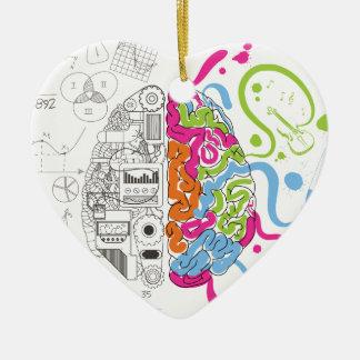 Wellcoda Creative Brain Mind Master Side Ceramic Heart Ornament