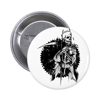 Wellcoda Dead Reaper Skeleton Scary Skull 2 Inch Round Button