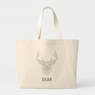 Wellcoda Dear Deer Stag Head Wild Print Large Tote Bag