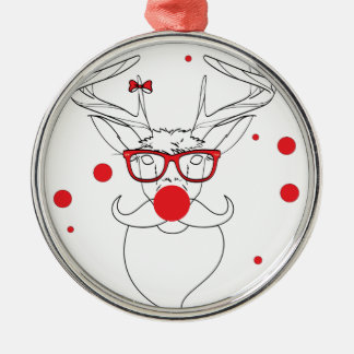 Wellcoda Deer Hipster Winter Geek Holiday Silver-Colored Round Ornament