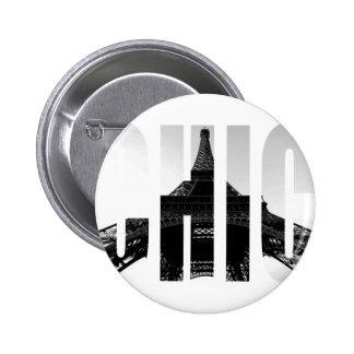 Wellcoda Eiffel Tower Chic Swag Paris Love 2 Inch Round Button