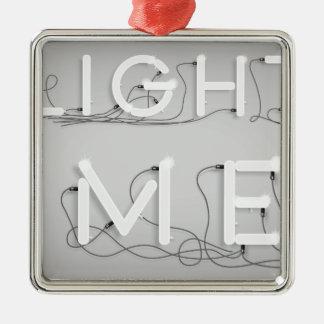 Wellcoda Enlighten Me Bulbs Swag Hipster Silver-Colored Square Ornament