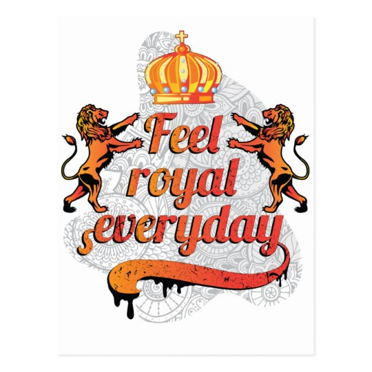 Wellcoda Feel Royal Everyday Crown Lion Postcard