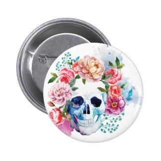 Wellcoda Flower Dead Bed Skull Grave Yard 2 Inch Round Button