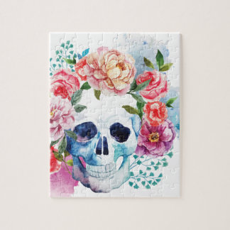 Wellcoda Flower Grave Skull Skeleton Head Jigsaw Puzzle