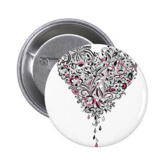 Wellcoda Flower Power Heart Petal Rose Fun 2 Inch Round Button