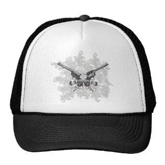 Wellcoda Flower Silver Pistol Skull Gun Trucker Hat