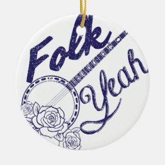 Wellcoda Folk Yeah Music Funny Banjo Rose Round Ceramic Ornament