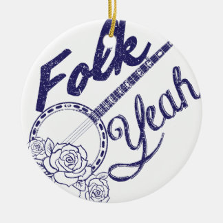 Wellcoda Folk Yeah Music Life Banjo Beat Round Ceramic Ornament