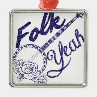 Wellcoda Folk Yeah Music Life Banjo Beat Silver-Colored Square Ornament