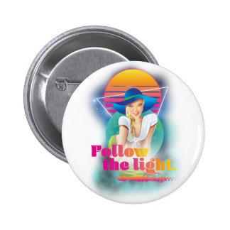 Wellcoda Follow Sun Light 80's Hippy Look 2 Inch Round Button