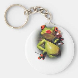 Wellcoda Glamour Frog Smoke Funny Animal Basic Round Button Keychain