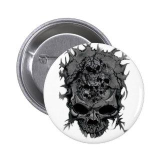 Wellcoda Grey Skull Head Brain Dead Mind 2 Inch Round Button