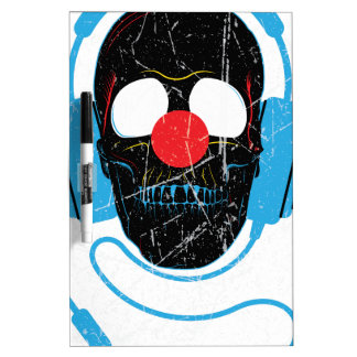 Wellcoda Headphone Skull Face Clown Nose Dry Erase Board