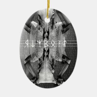 Wellcoda Horror Animal Mask Cult Leader Ceramic Oval Ornament