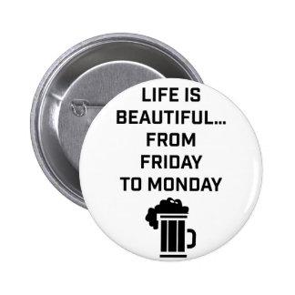 Wellcoda Life Is Beautiful Pub Weekend 2 Inch Round Button