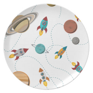 Wellcoda Meet You In Galaxy Mad Planet Dinner Plate