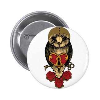 Wellcoda Old School Owl Rock Locked Heart 2 Inch Round Button