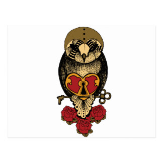Wellcoda Old School Owl Rock Locked Heart Postcard