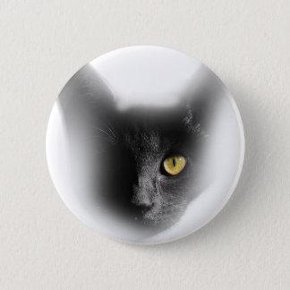 Wellcoda One Eyed Black Cat Freaky Kitten 2 Inch Round Button