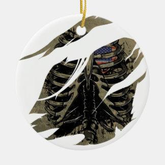 Wellcoda Rib Cage Heart USA Skeleton Love Round Ceramic Ornament