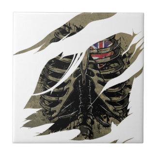Wellcoda Rib Cage Love UK Skeleton Heart Ceramic Tile