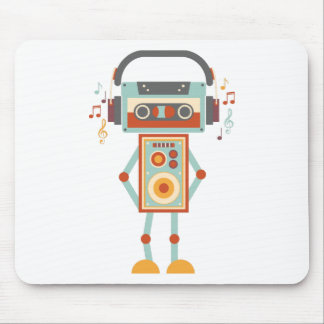 Wellcoda Robot Music Tape Dj Headphones Mouse Pad