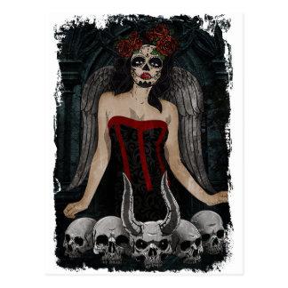 Wellcoda Scary Skull Sexy Girl Demon Evil Postcard