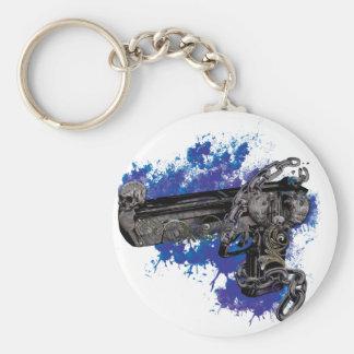 Wellcoda Skeleton Revolver Pistol Chain Basic Round Button Keychain