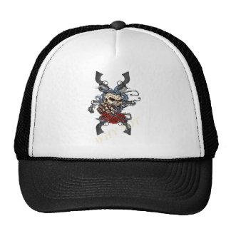 Wellcoda Skeleton Skull Pistol Gun Rose Trucker Hat