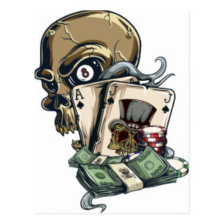 Wellcoda Skull Head Gambling Play Death Postcard
