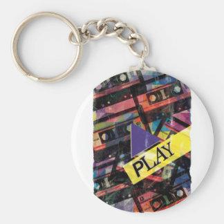 Wellcoda Tape Cassette Play Music Lover Basic Round Button Keychain