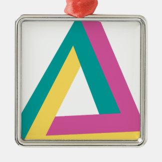 Wellcoda Triangle Drive Shape Summer Fun Silver-Colored Square Ornament