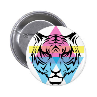 Wellcoda Triangle Tiger Face Wild Animal 2 Inch Round Button