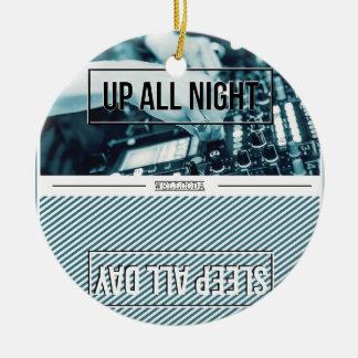 Wellcoda Up All Night DJ Mixer Sleep Day Round Ceramic Ornament