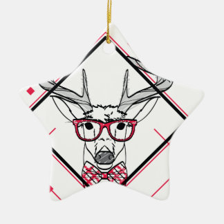 Wellcoda Urban Reindeer Swag Hipster Stag Ceramic Star Ornament