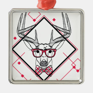 Wellcoda Urban Reindeer Swag Hipster Stag Silver-Colored Square Ornament