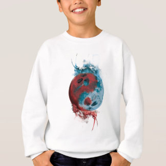 Wellcoda Yin Yang Skull Earth Planet Fire Sweatshirt