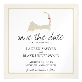 Wellfleet Cape Cod Wedding Save the Date Magnetic Card