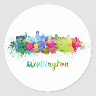 Wellington skyline in watercolor classic round sticker