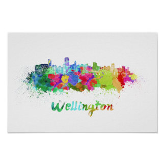 Wellington skyline in watercolor poster