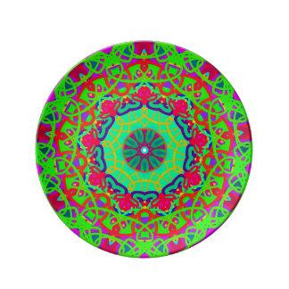 Wellness Green Mandala Colorful Plate